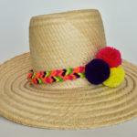 Sosbreros Wayuu con Trenzas y Tres Borlas de de Colores Negro Rojo Amarillo