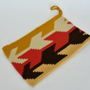 Sobres Clutch Arte  Wayuu Figuras Flechas Amarillo Rojo Negro
