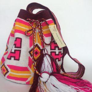 Mochila Wayuu Una Hebra Patron Hache Borlas