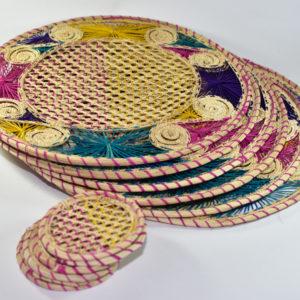 Portavasos redondos en Palma de Iraca Espirales de Colores