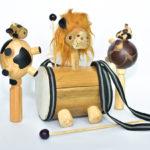 Tambores Madera Juguetas Animales Leon Maracas Vaca
