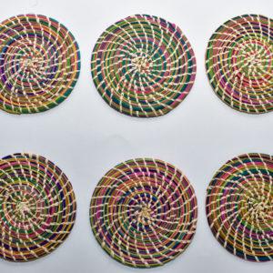 Porta Vasos Artesanalaes Redondos Espirales Palma de Iraca