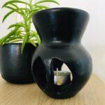 Pebetero En Ceramica Negra