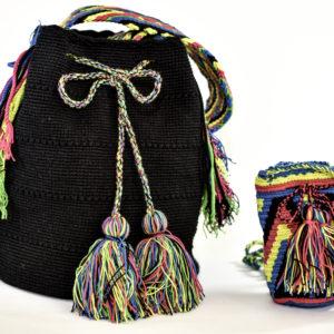 Mochilas Wayuu Un Color Negras Grande Pequeña